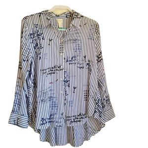 CHICO'S  Long sleeve Strip Conversational Blouse